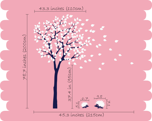 Black Tree with Pink Leaves & Hedgehog Nursery Wall Sticker Vinyl Decal Decor
