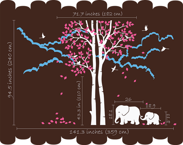 Large Brown Trees with Birds & Elephants Nursery Wall Sticker Vinyl Decal Art Decor