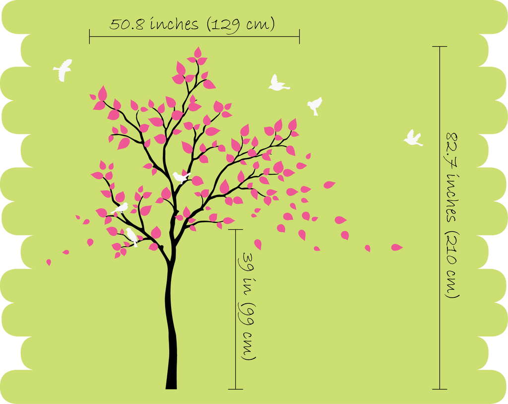 Burgundy Tree with white leaves & Birds Nursery Wall Decal Décor ...