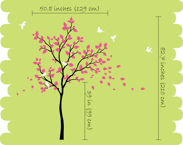 Brown Tree Birds and Leaves Wall Sticker Vinyl Decal Art Decor