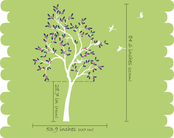 Large Black Tree with leaves, fruit & birds Nursery Wall Decal Décor