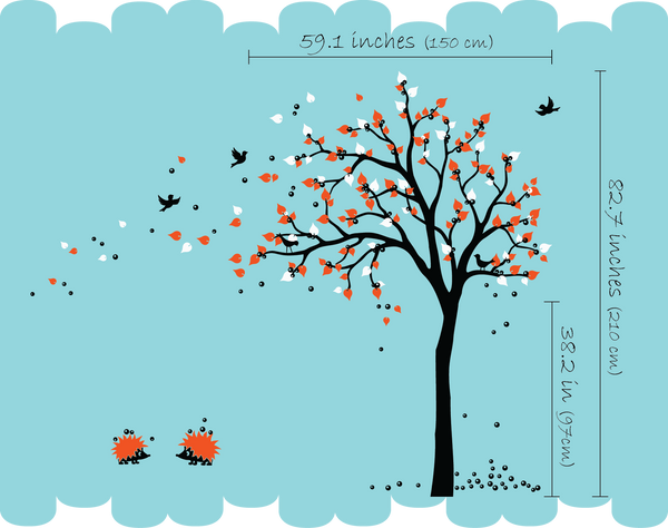 Black Tree with birds, fruit &Hedgehogs Nursery Wall Decal Decor