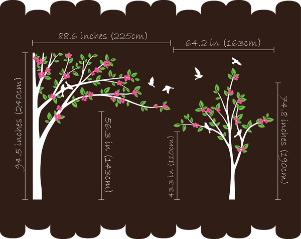 Blossoms Black Trees Birds Nursery Wall Sticker Vinyl Art Decal Décor