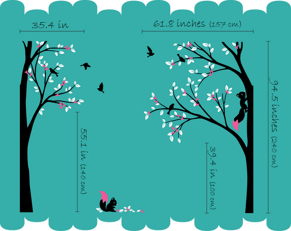 Corner Trees Blossoms & Leaves with Squirrels & Birds Wall Decal