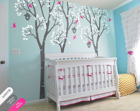 Birch Trees with Birds & Birdhouses Nursery Wall Sticker