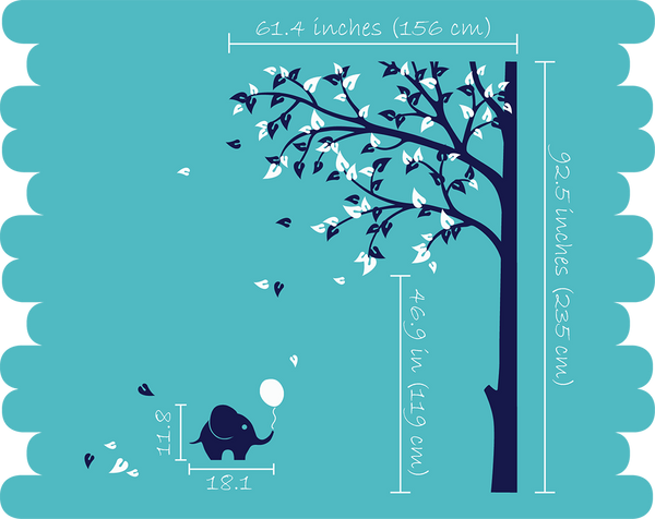 Large Corner Tree Wall Sticker with Leaves & Elephants Cute Vinyl Wall Decal Décor
