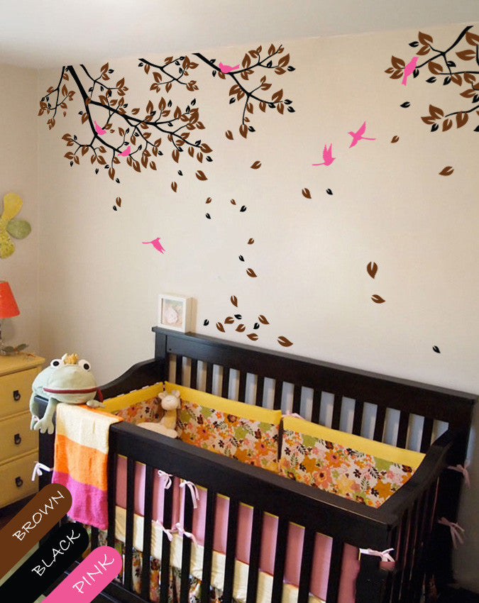 Tree Branches with brown leaves & Birds Nursery Wall Decal Décor