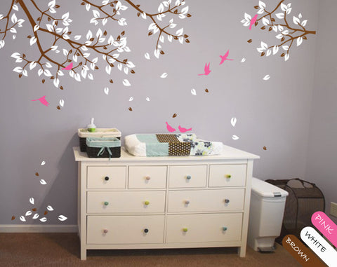 Brown Tree Branches with leaves & Birds Wall Sticker Vinyl Decal Décor