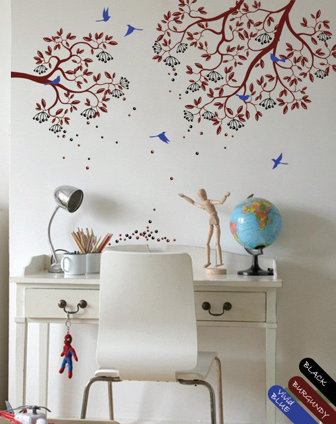 Burgundy Tree Branches with Leaves, Fruits & Birds Wall Sticker Vinyl Decal Décor