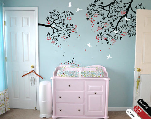 Black Tree Branches with Leaves, Fruits & Birds Wall Sticker