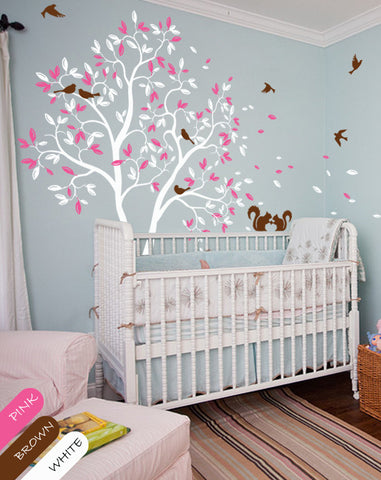 White Large Tree with leaves, birds, Squirrels Nursery Wall Sticker