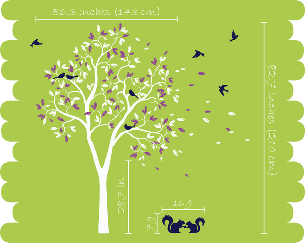 Black Large Tree with leaves, birds, Squirrels Wall Decal Art Décor