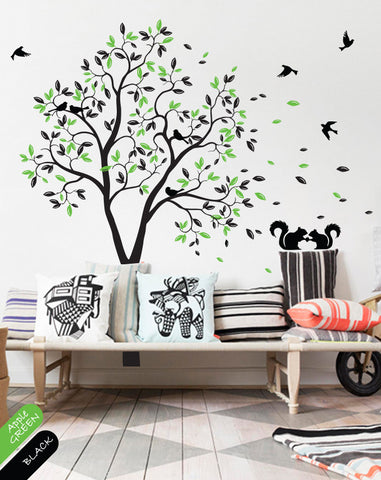 Black Tree Branches With Leaves, Fruits U0026 Birds Wall Sticker