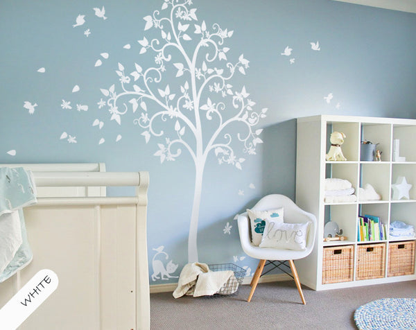 White Tree with Blossoms, Leaves, Cat & Birds Wall Sticker