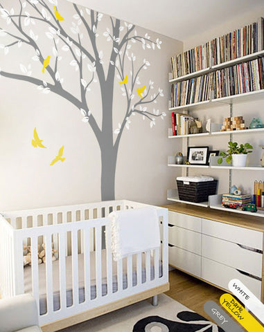 Grey Tree Birds Wall Decal Mural Sticker