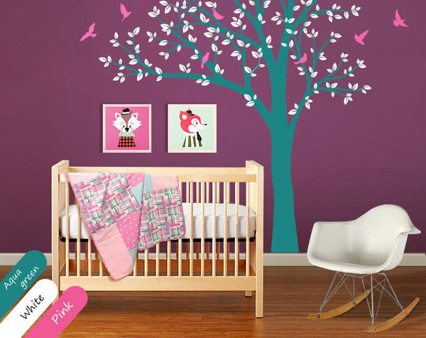 Aqua Green Tree Birds Wall Sticker