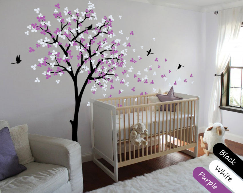 Blossom Black Tree Birds Wall Stickers Vinyl Decal Nursery Baby Kids