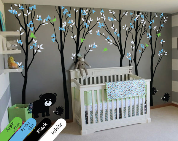 Blossom Black Tree Animals Wall Decal