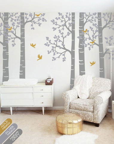 Grey Birch Tree Birds Wall sticker