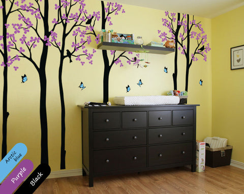 Large Black Tree Blossom Birds Wall Sticker