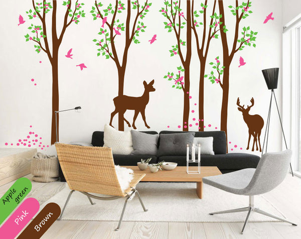 Brown Trees Birds & Deer Vinyl Sticker