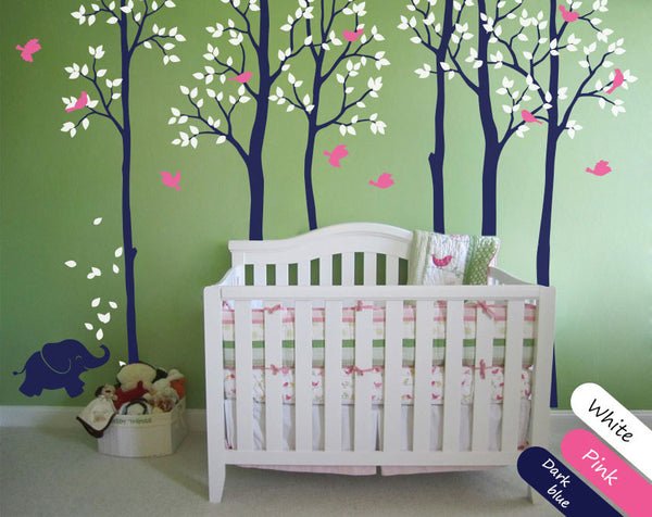 Dark Blue Trees Birds Nursery Wall Sticker