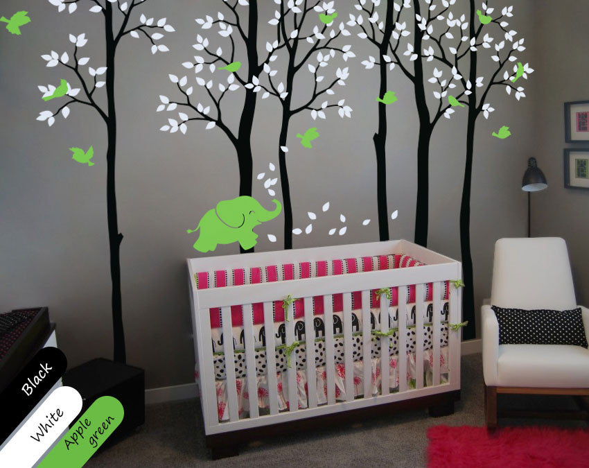 Black Trees Birds & baby elephant Nursery Wall Sticker