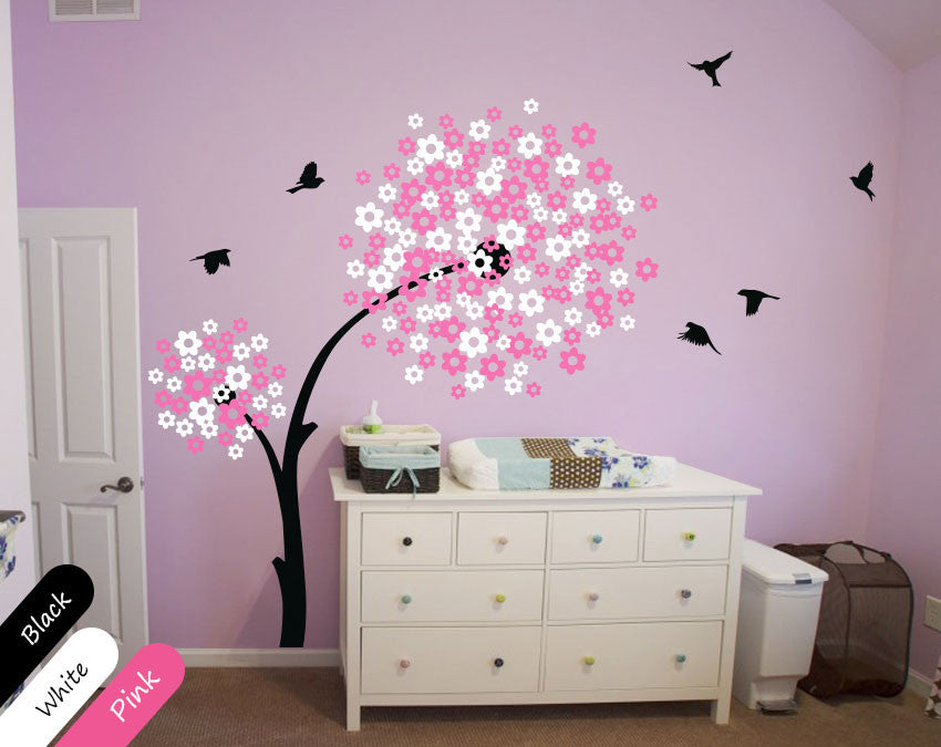 White & Pink Blossoms Tree Birds Wall Sticker