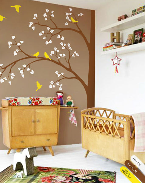 Large Corner Tree Birds Wall Decal