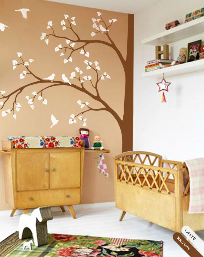 Large Corner Brown Tree with Birds Wall Decal