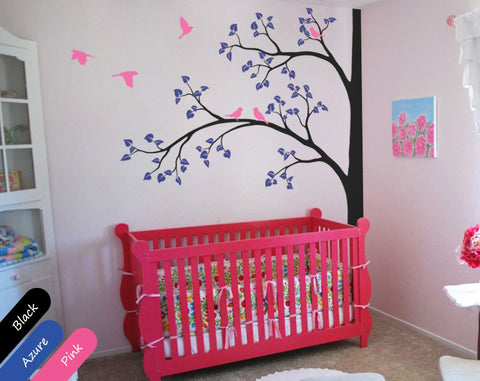 Black Tree Birds Nursery Wall Sticker