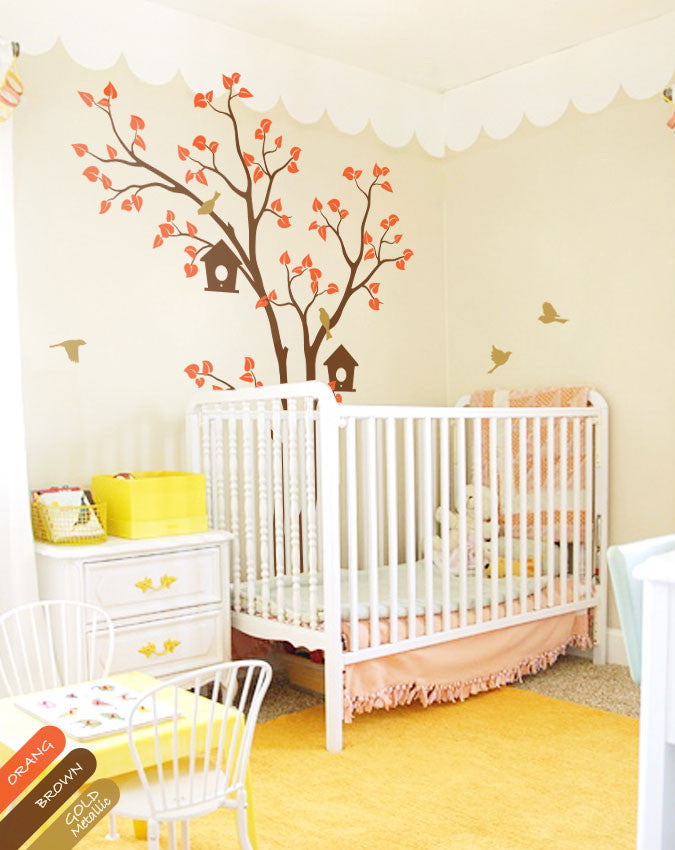 Brown Tree Birds House Nursery Wall Sticker