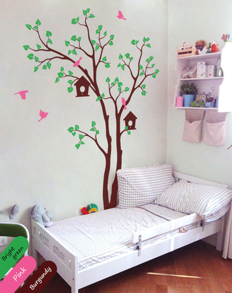 Burgundy Tree Birds House Wall Sticker