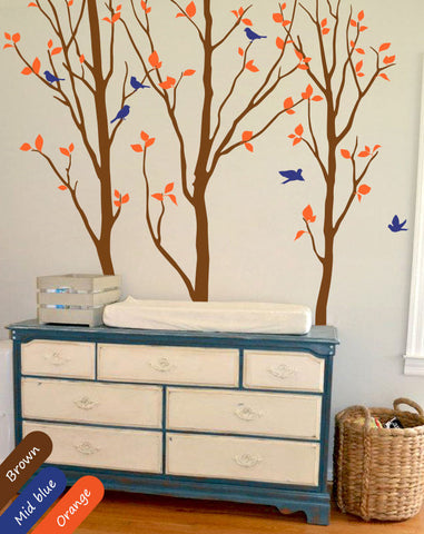 Brown Tree Birds & Leaves Wall Decal