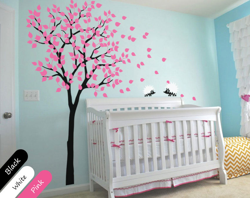 Black Tree With Pink Leaves U0026 Hedgehog Nursery Wall Decal