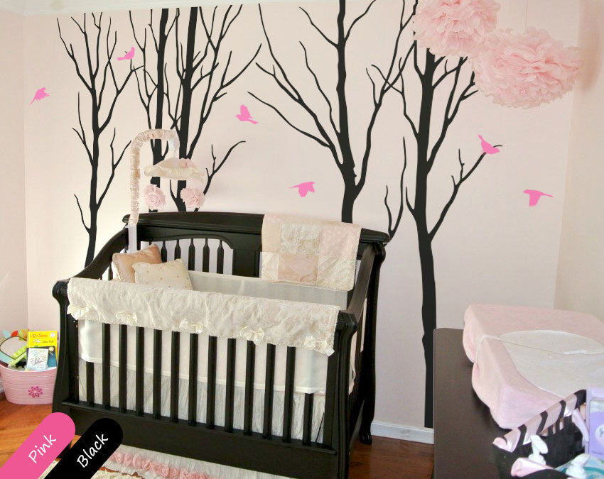 Large Black Trees Birds Nursery Wall Sticker