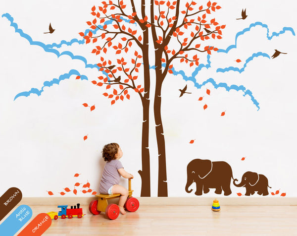Brown Trees with Birds & Elephants Nursery Wall Decal