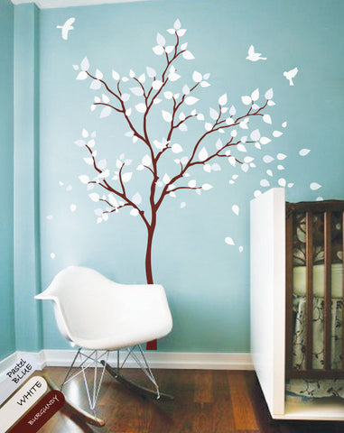 Burgundy Tree with leaves & Birds Nursery Wall Sticker