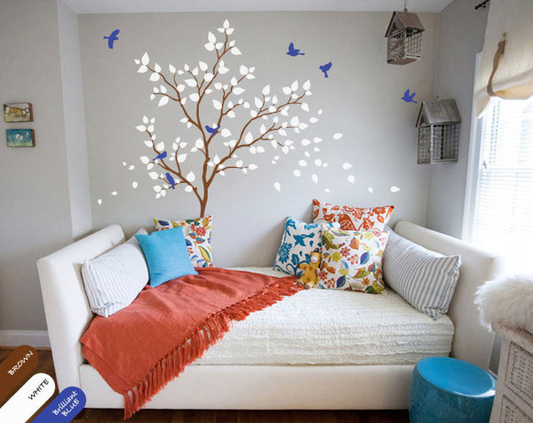 Brown Tree birds and white leaves wall sticker
