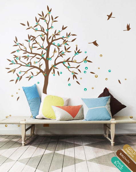 Brown Tree with fruit birds wall sticker