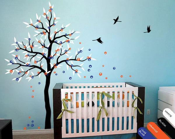 Black Tree with leaves, fruit, birds Nursery Wall Sticker