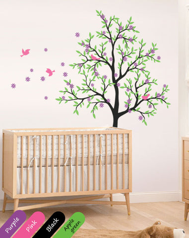 Blossoms Black Tree birds Nursery Wall Sticker