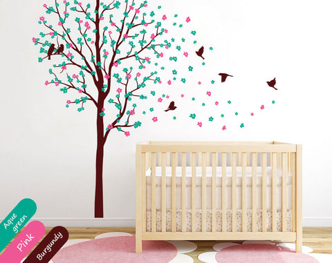 Burgundy Tree with blossoms & birds Nursery Wall Sticker