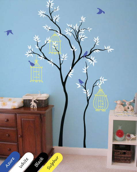 Black Trees with birds & birdcages Wall Sticker
