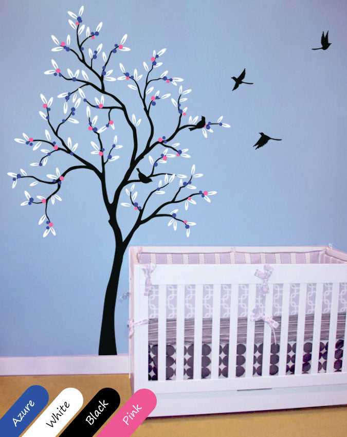 Black Tree with leaves, fruit & birds wall sticker