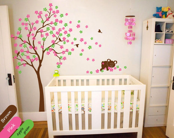 Blossoms Brown Tree with birds & bear Wall Sticker