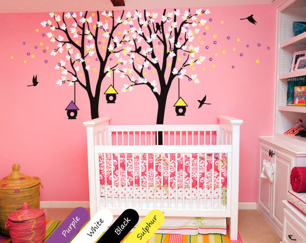 Black Trees birds & birdcages Nursery Wall Sticker