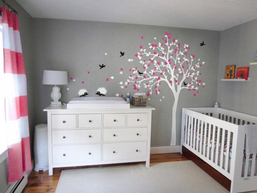White Tree Birds & Hedgehogs Nursery Wall Sticker