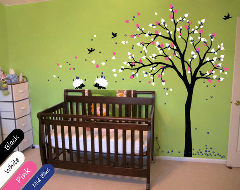 Black Tree with birds, fruit &Hedgehogs Wall Sticker
