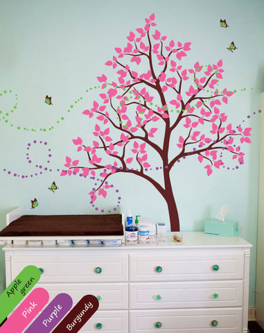 Burgundy Tree with leaves & butterflies Wall Sticker